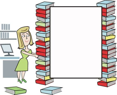 stacking: Library cartoon