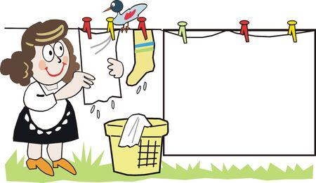 Happy housewife cartoon