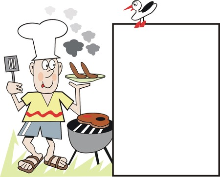 contented: Barbecue chef cartoon