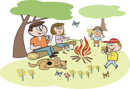 lazer: Family recreation cartoon Ilustração