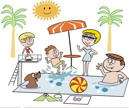 Family swimming cartoon Vector
