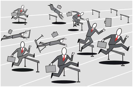gray suit: Business hurdle cartoon Illustration