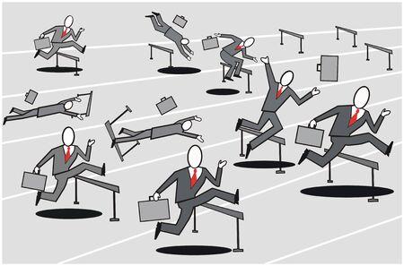 Business hurdle cartoon Illustration