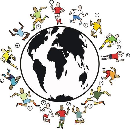 heading the ball: World soccer cartoon