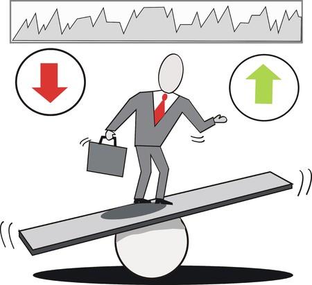perdidas y ganancias: Caricatura de balanceo de negocio