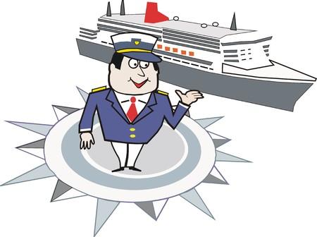 capitan de barco: Caricatura de capit�n de la nave con crucero  Vectores