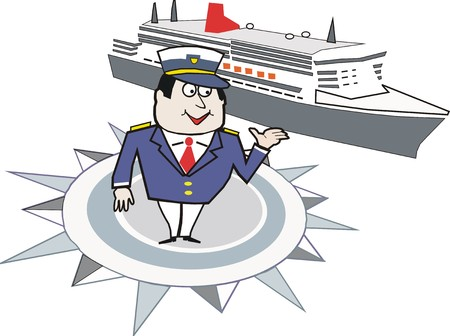 cruise cartoon: cartoon of ship captain with cruise liner