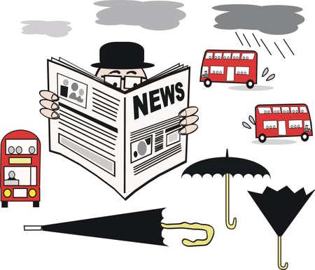 brolly: Caricatura de lector de peri�dicos  Vectores