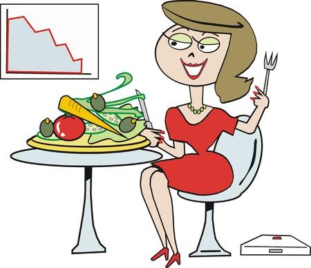 woman eat: Dibujos animados vegetariano  Vectores