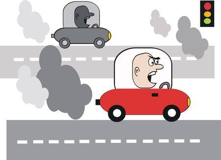 carbone: Dessin anim� de la pollution automobile  Illustration