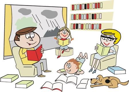 girl reading book: Family reading cartoon
