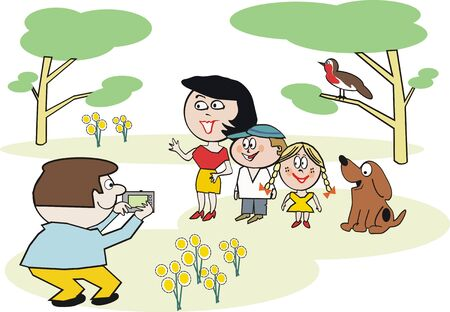 Family photograph cartoon Illustration