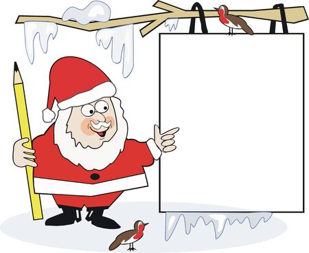 christmas robin: Santa Christmas sign cartoon