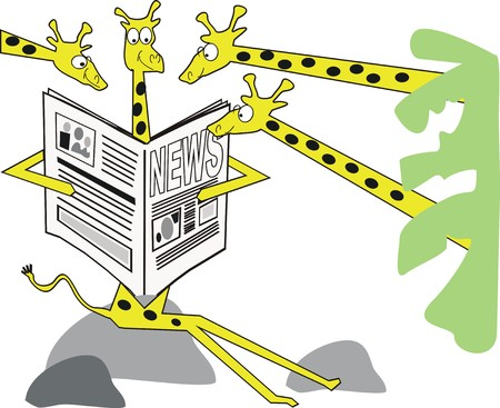 reading news: Giraffe cartoon