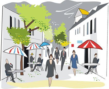 French street illustration Stock Vector - 6921790