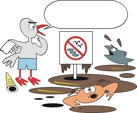 spillage: Dibujos animados de la contaminaci�n de aceite