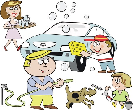 work task: Family washing car cartoon