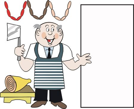 Happy butcher cartoon Vector
