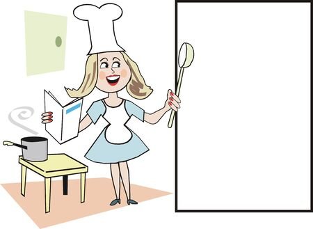 Caricatura de chef de mujer sonriente  Foto de archivo - 6921783