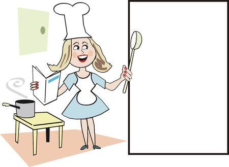 Smiling woman chef cartoon Stock Vector - 6921783
