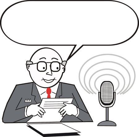 News announcer cartoon Vector