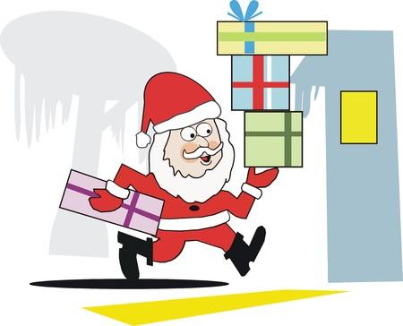 Running Santa cartoon Vector