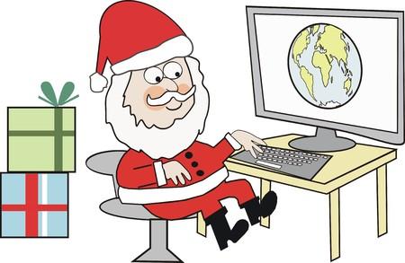 Internet Santa cartoon Vector