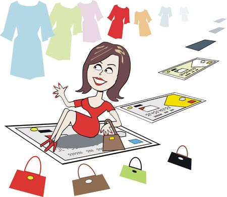happy shopper: Happy woman shopper cartoon