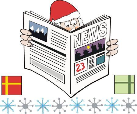 Santa Claus newspaper cartoon Stock Vector - 7035798