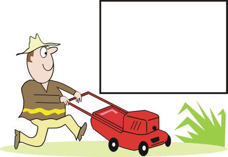 mowing the lawn: Gardening cartoon
