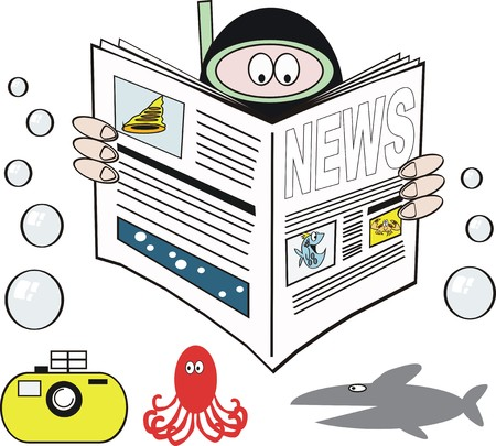 Skindiver reading newspaper cartoon Illustration