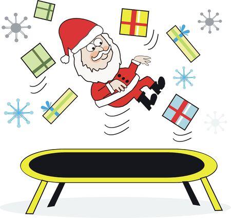 exercise cartoon: Santa Claus exercise  cartoon Illustration