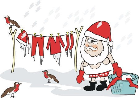 shivering: Santa Claus laundry cartoon