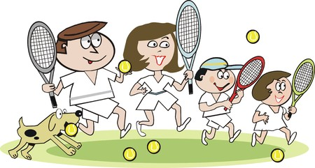 tennis racket: Happy family tennis cartoon