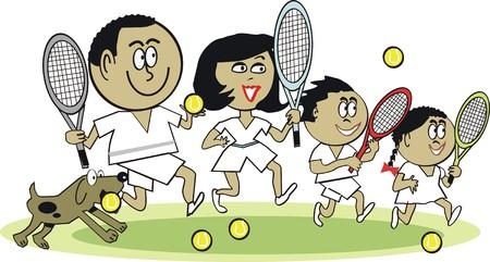 Afro American family tennis cartoon Vector