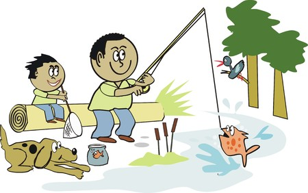 anglers: Afro American fishing cartoon Illustration