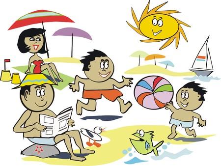 Summer fun beach cartoon Vector