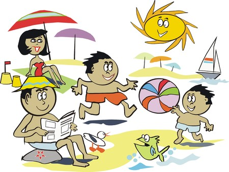 guy on beach: Summer fun beach cartoon