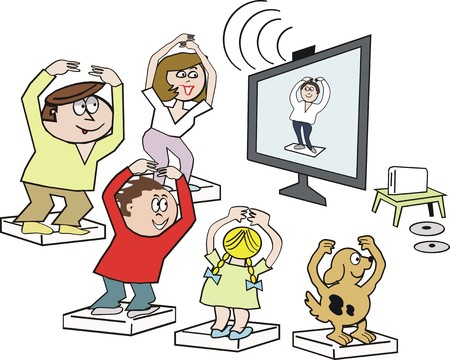 home group: Family exercise cartoon