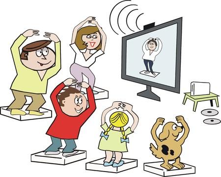 man exercise: Family exercise cartoon