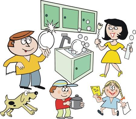 dish washing: Famiglia housework cartoon