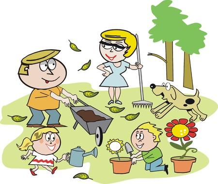 famiglia in giardino: Famiglia giardino cartoon Vettoriali