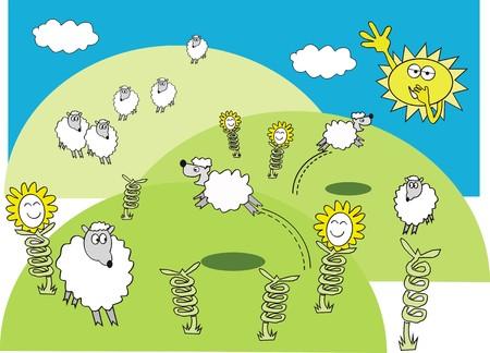 Spring sheep cartoon Vector