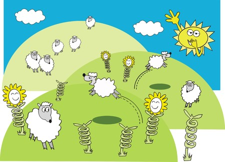 sheep cartoon: Spring sheep cartoon Illustration