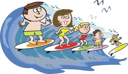 cartoon surfing: Family surfing cartoon