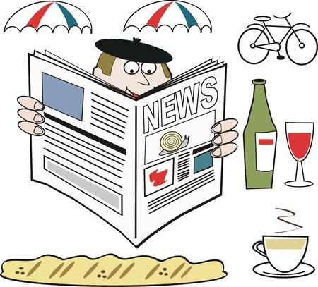 pane e vino: Uomo francese leggendo il giornale cartoon