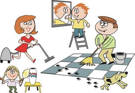 vacuuming: Family housework cartoon