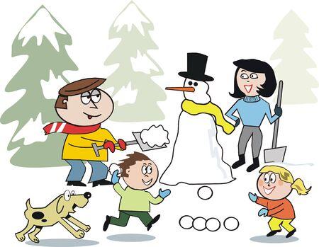 Dibujos animados de nieve del invierno familiar  Foto de archivo - 7142272