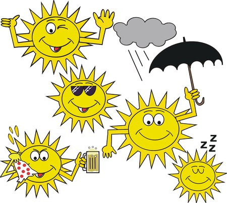 dozing: Happy cartoon sun symbols