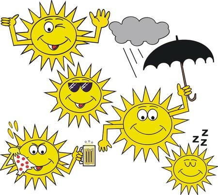 Happy cartoon sun symbols Stock Vector - 7142273